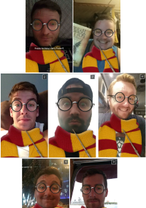 Tim, John, Eric, Chris, Ray, Brandon & Pacitti enjoying Harry's Birthday with Snapchat